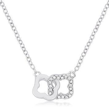 Simulated Diamond Interlocking Clover Links Necklace, Sterling Silver