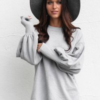 Turn Around Gray Chenille Bubble Sleeve Sweater