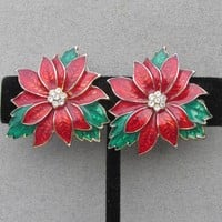 Beautiful Vintage Enamel & Rhinestone Christmas Poinsettia Pierced Earrings