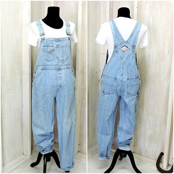 womens overalls / 90s  London London overalls / size M / 90s grunge / light wash bib overalls / overall pants