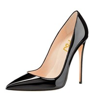 FSJ Women Casual Evening High Heels Shoes Pointed Toe Slip On 10 cm Pumps For Comfort Size 4-15 US