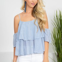 Cute Pinstriped Blue Top