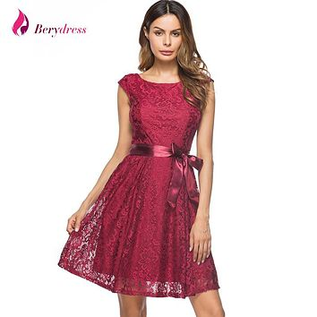 Berydress Elegant Women Vintage Wedding Party Dress Cap Sleeve with Belted Knee-Length Sexy V-back Short Floral Lace Dresses