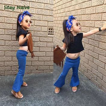 2017 spring models girls baby soft vintage denim bell-bottoms jeans children free shipping