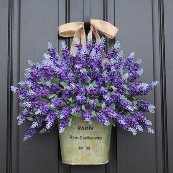 Lavender Wreaths, Lavender Fields, Spring Flowers, Spring Bouquet, Spring Wall Pocket, Twoinspireyou Wreaths