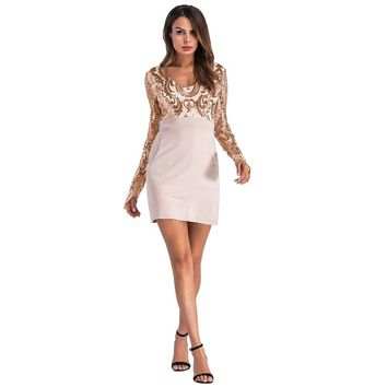 Women's casual dress Deep V collar Long sleeves Sequined dress pocket Package hip Sexy dress  Bodycon dresses