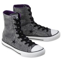 Girl's Converse® One Star® Glitter Hightop Sneaker - Black