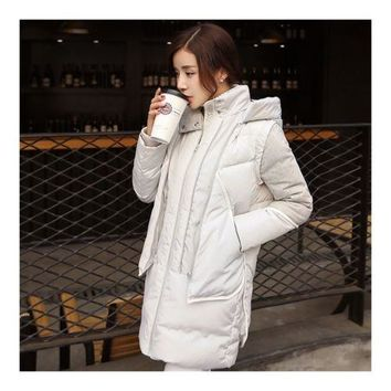 Woman Winter Thick Warm Middle Long Down Coat   grey white