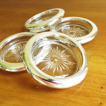 Vintage Coasters, Crystal Silverplated, Made by Sheratonn, Starburst Design, Made in Italy, Set of Four, 1960's
