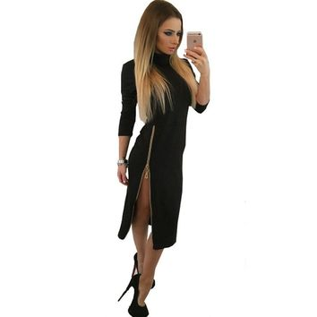 Winter dress fashion Zipper open fork turtleneck women dresses Long sleeve bodycon long dress