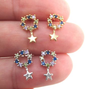 Dainty Star Shaped Round Rhinestone Drop Stud Earrings