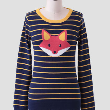 Folklore Striped Fox Sweater