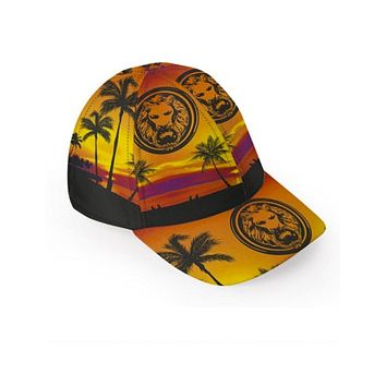 Mens Orange Tropical Luxury Baseball Cap