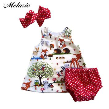 Melario Baby Dresses  Spring  Baby Girls Clothes Flower Pattern Baby Princess Dress Plaid Cotton Kids Clothing