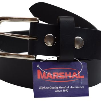 """New Marshal Casual Belt 1.5"""" Wide Top Grain Genuine Leather Silver Buckle"""