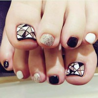 17 Styles choose Toenails Fake Nails Elegant Marble Artificial Square Nail Tips with Glue Sticker unhas Press on nails