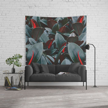 Tropical Leaves Vintage Wall Tapestry by Lostanaw