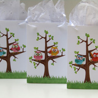 10 Owl Party Favor Bag-Candy/Treat Bag-Owl Boy/Girls Birthday Gift Bag