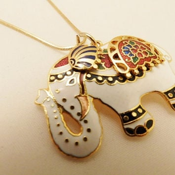 Gold Tone  Cloisonne Vintage Elephant  Pendant Necklace, Costume Jewelry