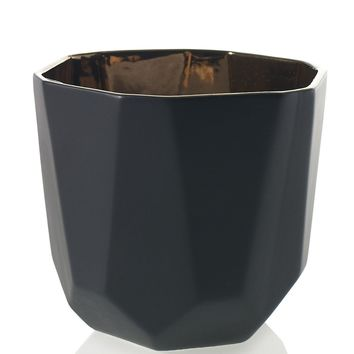 "Benito Ceramic Flower Pot in Black and Copper - 6.5"" Tall x 7"" Wide"