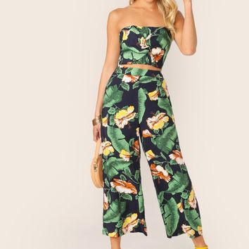 Tropical Floral Twist Bustier Top And Pants Set