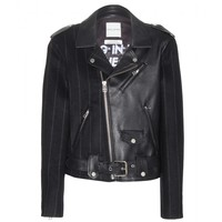Robert Montgomery wool and leather jacket