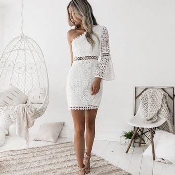 Lace White Long Trumpet Sleeves One Shoulder Short Dress