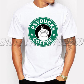 Hot Sale hipster men customized t-shirt Psyducks Coffee letter Printed tee shirts short sleeve casual O-neck funny cool tops