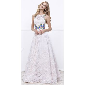 Ivory/Gold Sleeveless Lace Overlay Embroidered Ball Gown Open Back