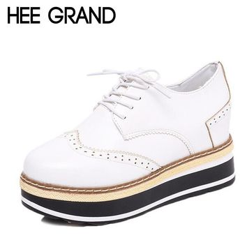HEE GRAND Women Boots Flat with Heels Platform Oxford Wingtip Autumn Shoes Woman Ankle Fashion Boots XWD6043