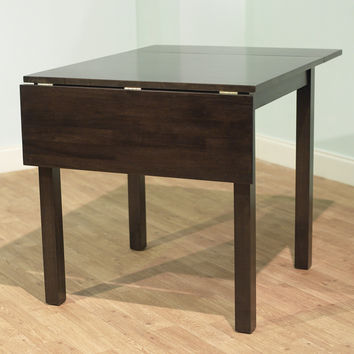 Contemporary Dual Drop Leaf Dining Table in Espresso Wood Finish