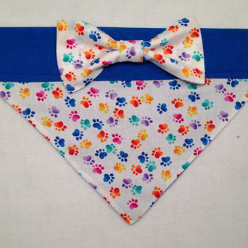 Dog Bandana Multi-Color Paw Print with Bow
