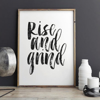 RISE AND GRIND,Rise And Shine,Bedroom Decor,Dorm Room Decor,Motivational Poster,Inspirational Quote,Wall Art,Watercolor Typography,Quote Art