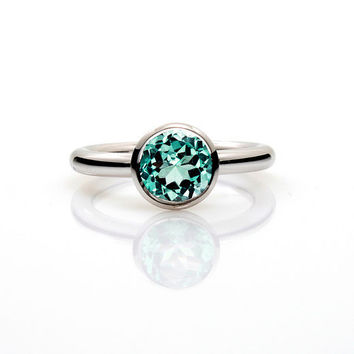 2.52ct Brazilian Light green tourmaline engagement ring, white gold, solitaire engagement, mint green, bezel, rose gold, unique, green gems