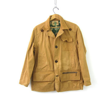 Mens vintage Hunting Coat Game Sportswear Canvas Coat Jacket Antique IDEAL Rugged Game Pocket Coat Men's Small Medium