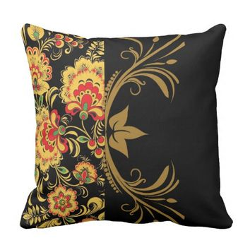 Floral Paisley Pillow on Black Background