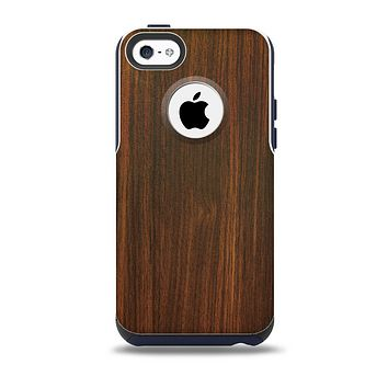 The Dark Walnut Stained Wood Skin for the iPhone 5c OtterBox Commuter Case