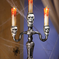 LED Lighted Skull Candleabra Halloween Decoration