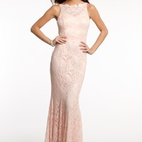 Glitter Lace Dress with Keyhole Satin Tie Back