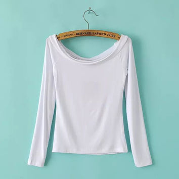 Autumn Sweets Slim Sexy Strapless Long Sleeve T-shirts Bottoming Shirt [6050432257]