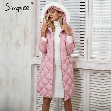 Simplee Furry hood padded long winter coat women Causal streetwear parka jacket coat female 2017 autumn warm outerwear overcoat