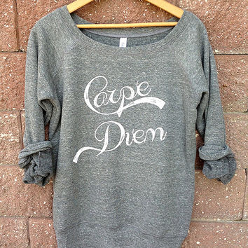 Carpe Diem Wideneck Slouchy Pullover, Yoga Top, LARGE