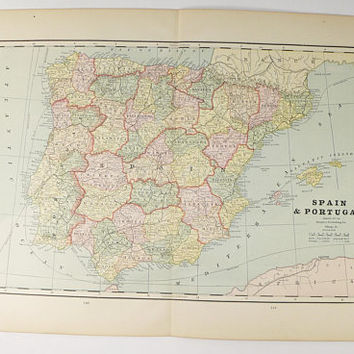 Antique Spain Map, Vintage Map Portugal 1888 Old World Map Gift for Traveler, Vintage Spain Map, Spanish Decor Gift for Teacher