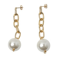 Faux Pearl Chain Drop Earrings
