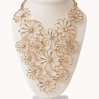 Striking Cutout Floral Bib Necklace