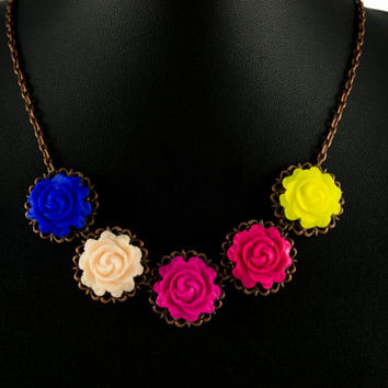 Romantic Polymer Clay Rose Statement Necklace. Colorful  Bib Necklace. Flower Necklace. Antique Brass. Handmade Jewelry Flower Jewelry