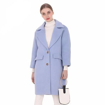 New wool long thick coat jacket Women warm winter coat turn down coat Casual Long Outerwear for ladies