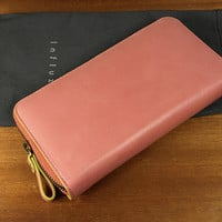 Baimiao Pink Leather Zip Around Wallet : leather wallet / Woman Leather Wallet / Leather Clutch Wallet / Leather Zip Wallet.