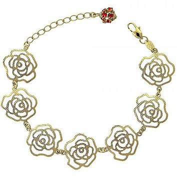 Gold Layered Charm Bracelet, Flower Design, with Crystal, Golden Tone