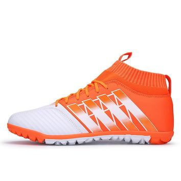 New Men's High Ankle Turf Sole Indoor Cleats Football Boots Shoes Soccer Cleats